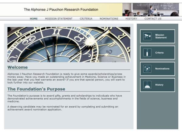 Alphonse J. Pauchon Foundation Website - Morgan Hill, CA
