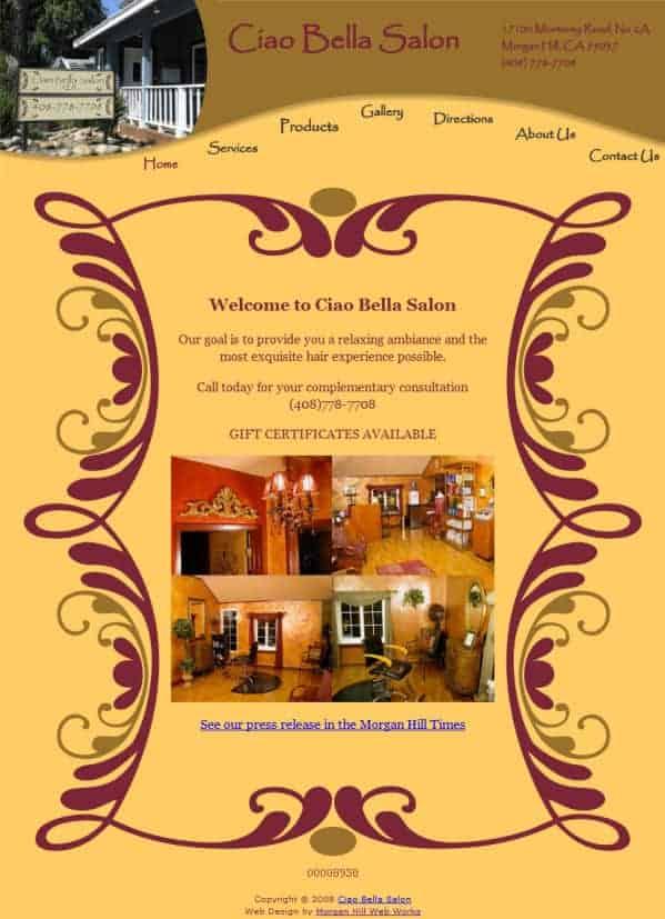 Ciao Bella Salon Website - Morgan Hill, CA