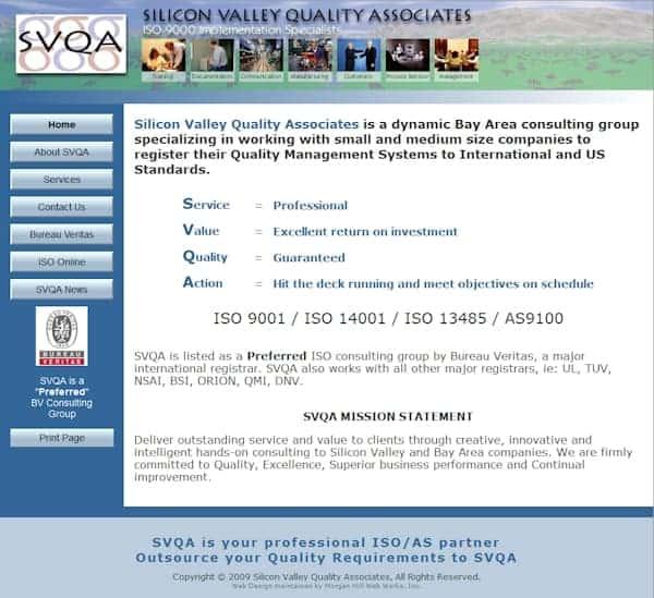 Silicon Valley Quality Associates Website - San Jose, CA