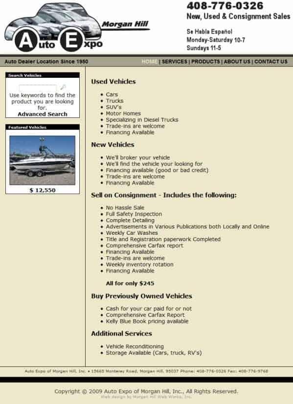 Auto Expo Website - Morgan Hill, CA