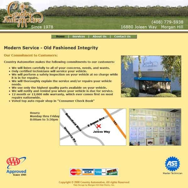 Country Automotive Website - Morgan Hill, CA
