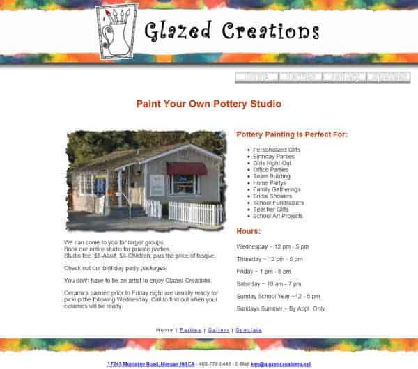 Glazed Creations Website - Morgan Hill, CA