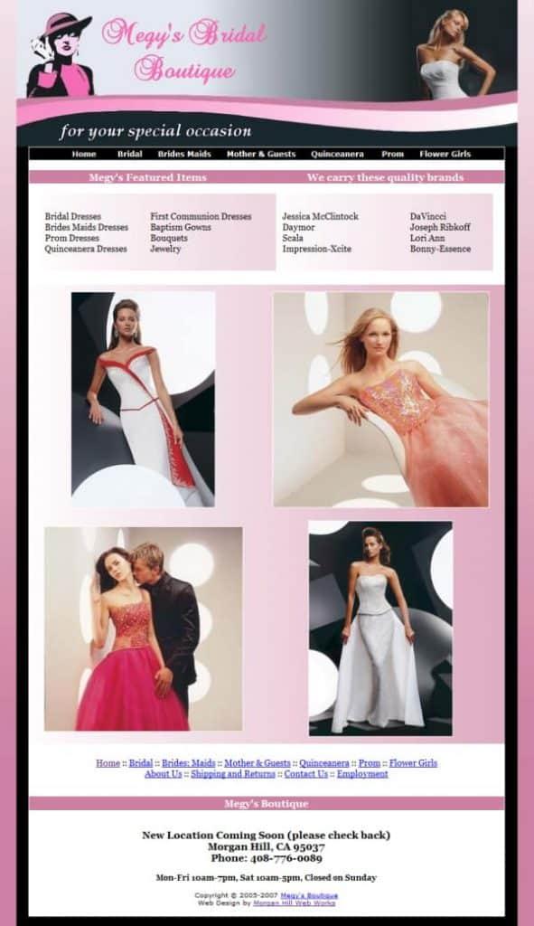 Megy's Bridal Boutique Website - Morgan Hill, CA