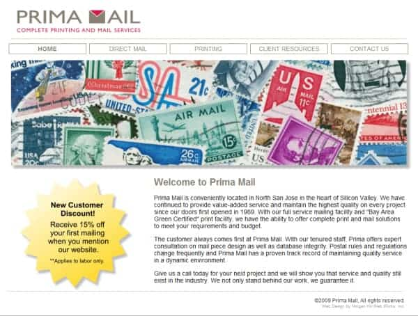 Prima Mail Website - Morgan Hill, CA