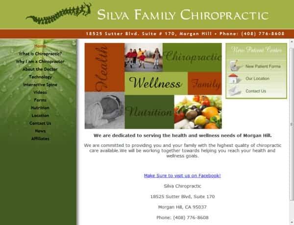 Silva Family Chiropractic Website - Morgan Hill, CA