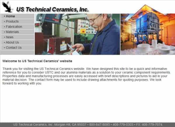 US Technical Ceramics, Inc. Website- Morgan Hill, CA