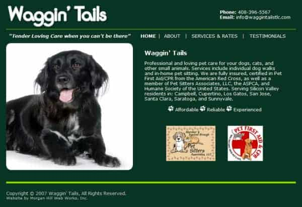 Waggin' Tails TLC Website, San Jose, CA