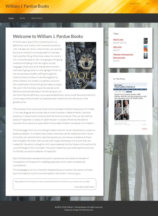 William J. Pardue Books Website - Morgan Hill, CA