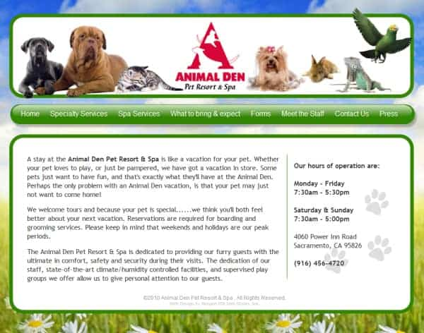 Animal Den Pet Resort Website - Sacramento, CA