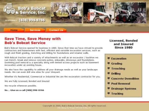 Bob's Bobcat Service Website - San Jose, CA