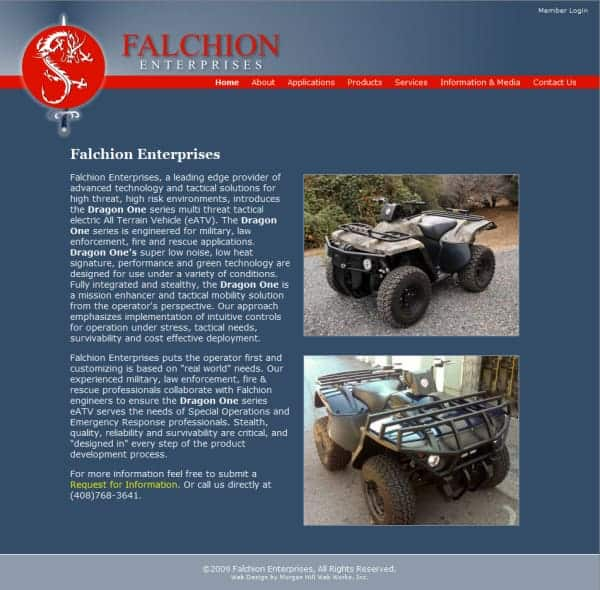 Falchion Enterprises Website - San Jose, CA