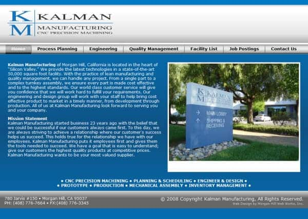 Kalman Manufacturing Website - Morgan Hill, CA