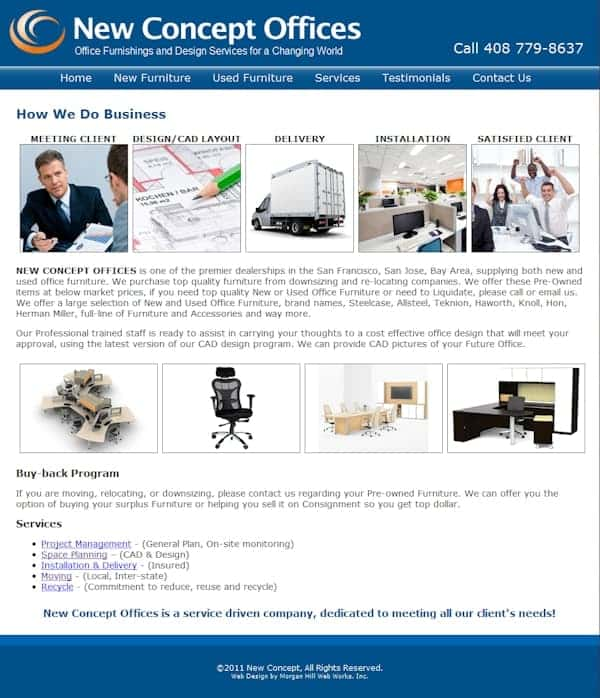 New Concept Office Furniture Website - Morgan Hill, CA