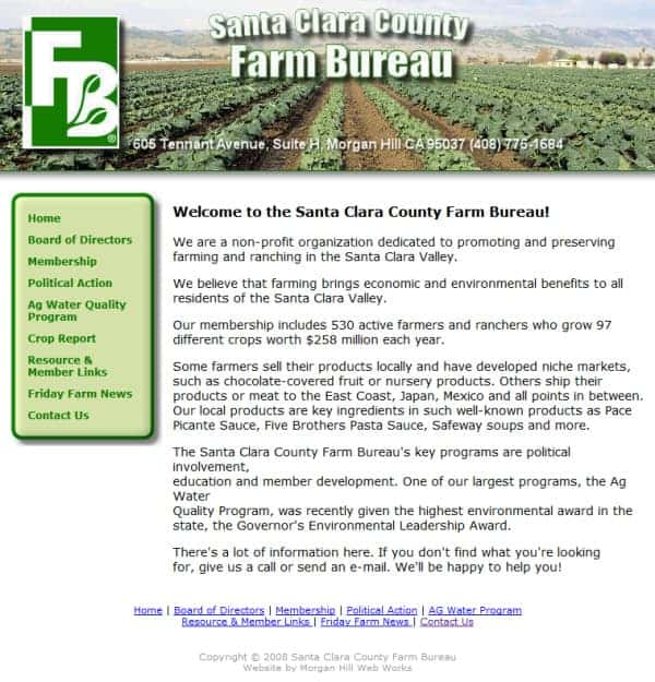 Santa Clara County Farm Bureau Website - Morgan Hill, CA