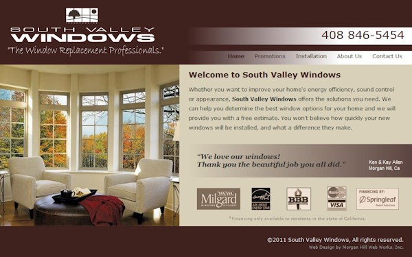 South Valley Windows Website - Gilroy, CA