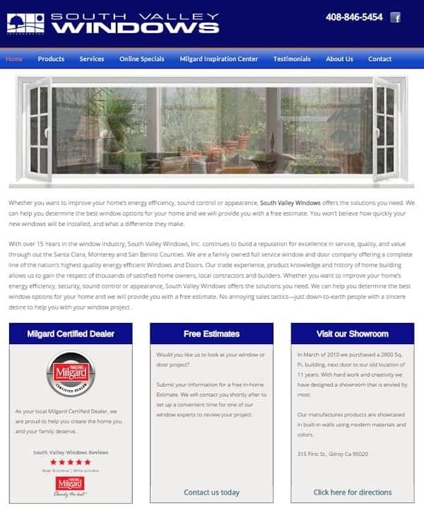 South Valley Windows Website - Gilroy, CA