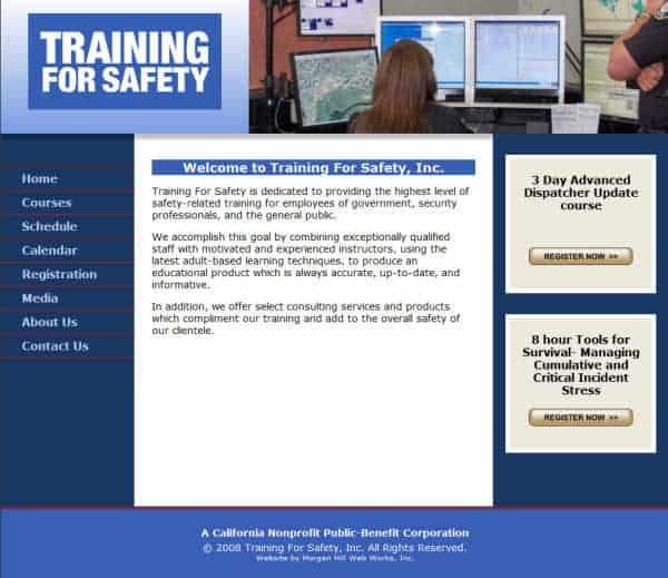 Training For Safety, Inc. Website - Burlinggame, CA