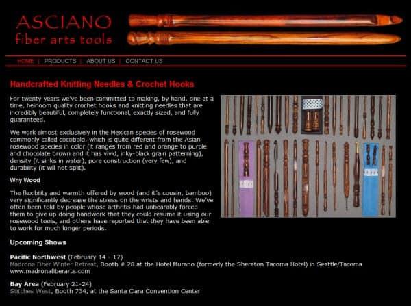 Asciano Fiber Arts Tools Website - Sausalito, CA