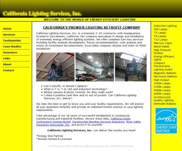 California Lighting Services Website - Sacramento, CA