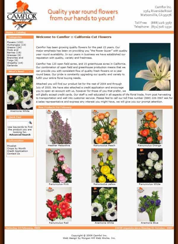 Camflor Website - Watsonville, CA