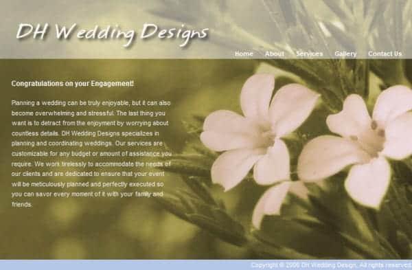 DH Wedding Designs Website - San Francisco, CA