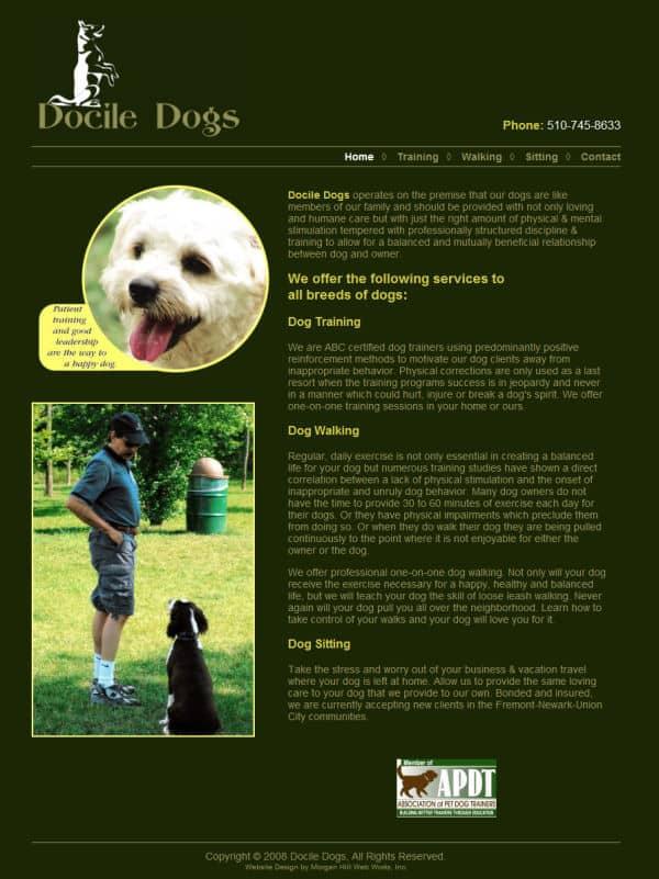Docile Dogs Website - Fremont, CA