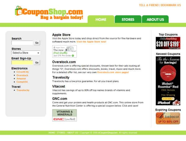 E-Coupon Shop Website