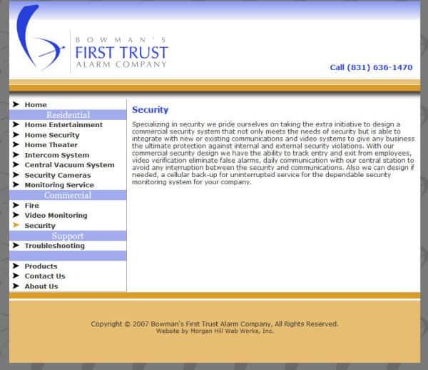 First Trust Alarm Company Website - Hollister, CA