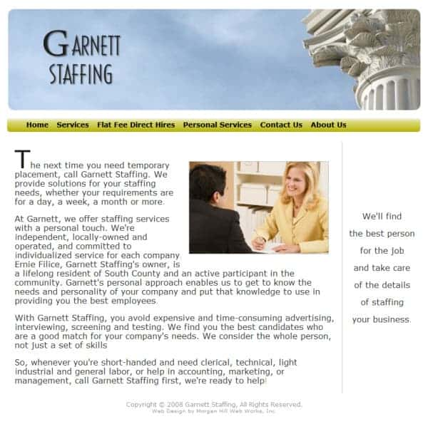 Garnett Staffing Website - Morgan Hill, CA