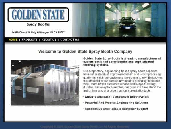 Golden State Spray Booths Website - Morgan Hill, CA