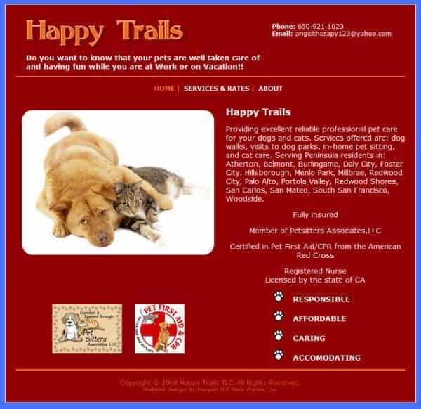 Happy Trails TLC Website - San Jose, CA