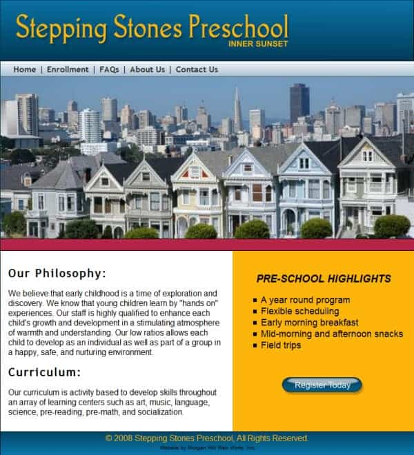 Stepping Stones Preschool Website - San Fransisco, CA
