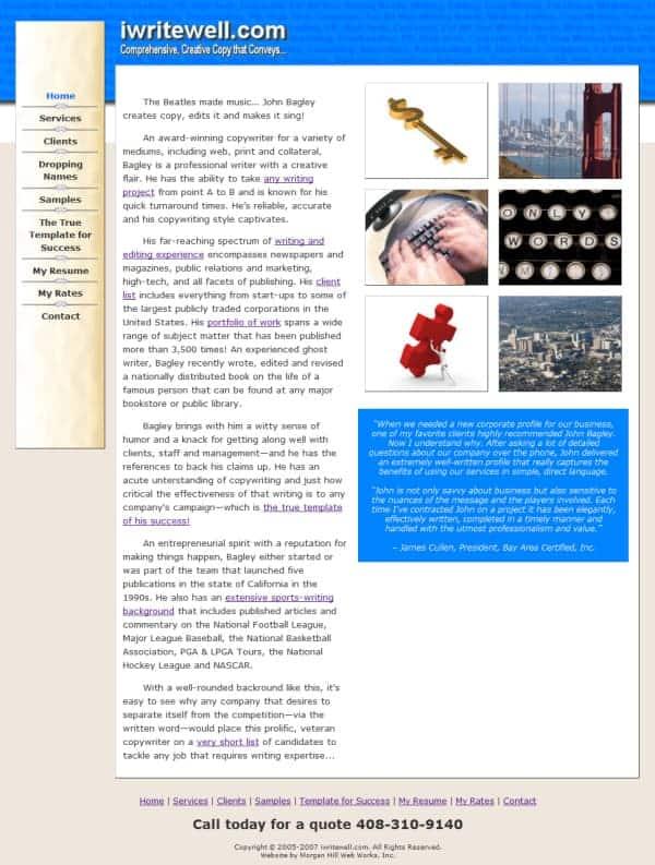 I Write Well Website - Pacific Grove, CA