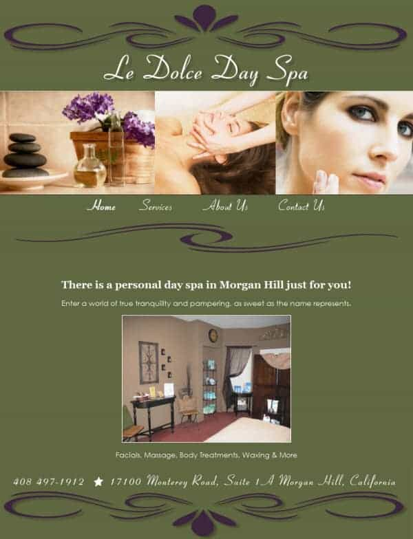 Le Dolce Day Spa Website - Morgan Hill, CA
