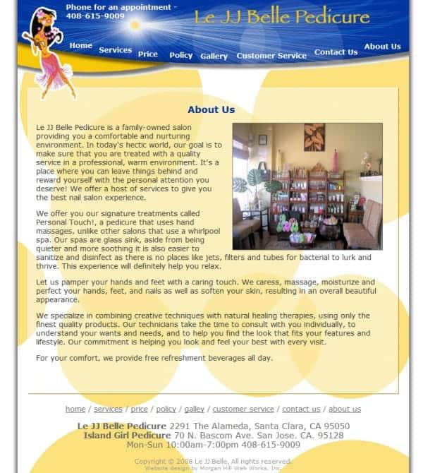 Le JJ Nail Spa Salon Website - Santa Clara, CA