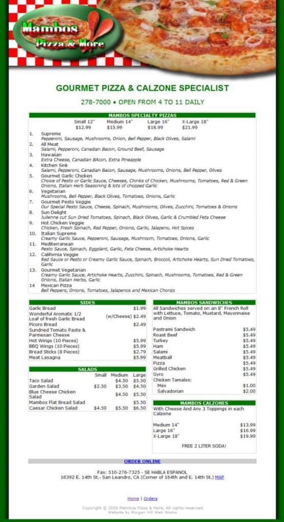 Mambos Pizza & More Website - Hayward, CA