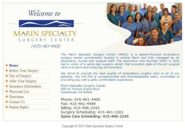 Marin Specialty Surgery Center Website - Marin, CA