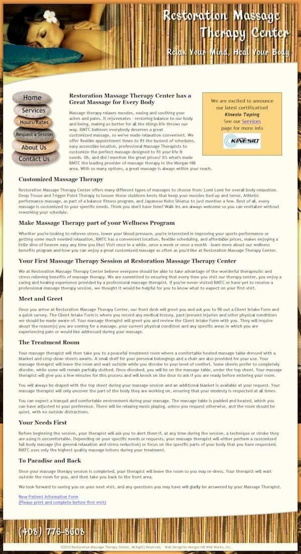 Restoration Massage Therapy Center Website - Morgan Hill, CA
