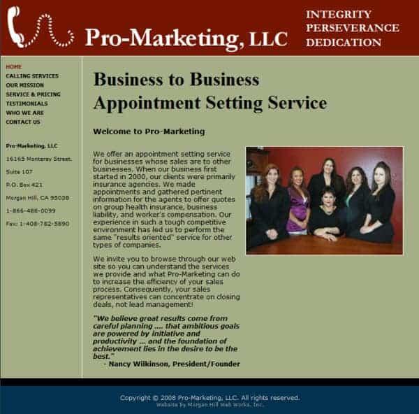 Pro-Marketing Website - Morgan Hill, CA