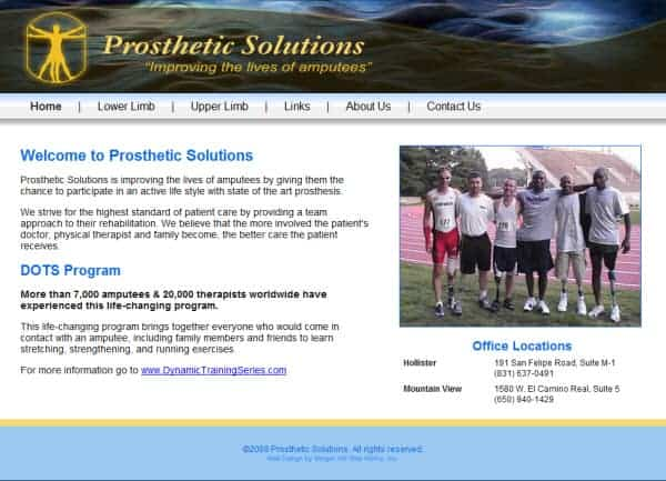 Prosthetic Solutions Website- Mountain View, CA
