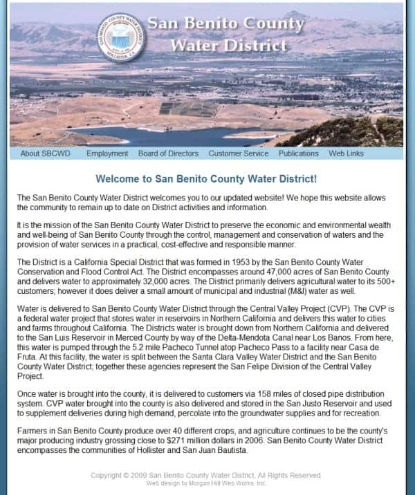 San Benito County Water District Website - Hollister, CA