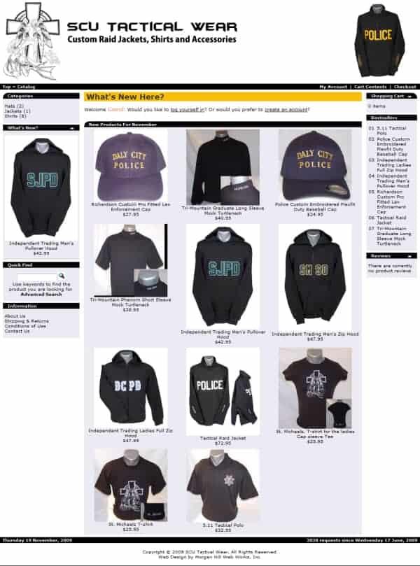 SCU Tactical Wear Website - Pacifica, CA