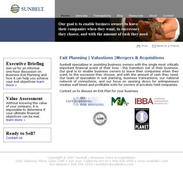 Sunbelt SV Website, Morgan Hill, CA