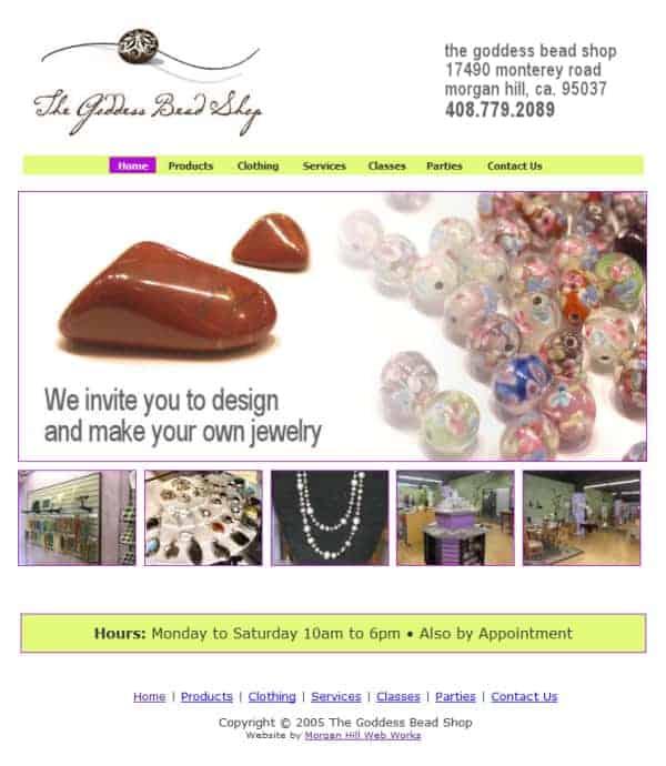 The Goddes Bead Shop Website - Morgan Hill, CA
