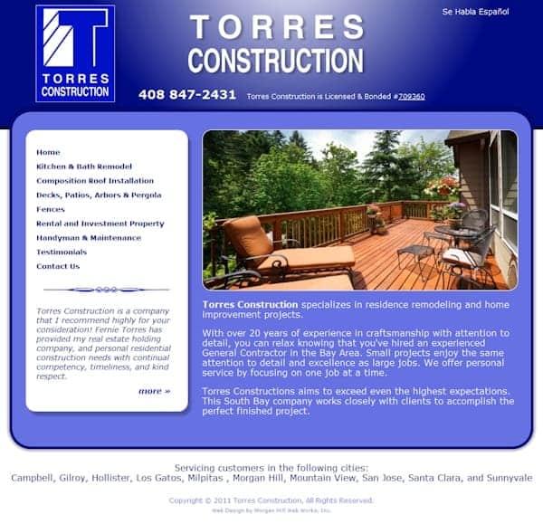 Torres Construction Website - Gilroy CA