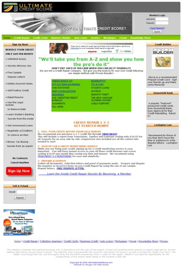 Ultimate Credit Scores Website
