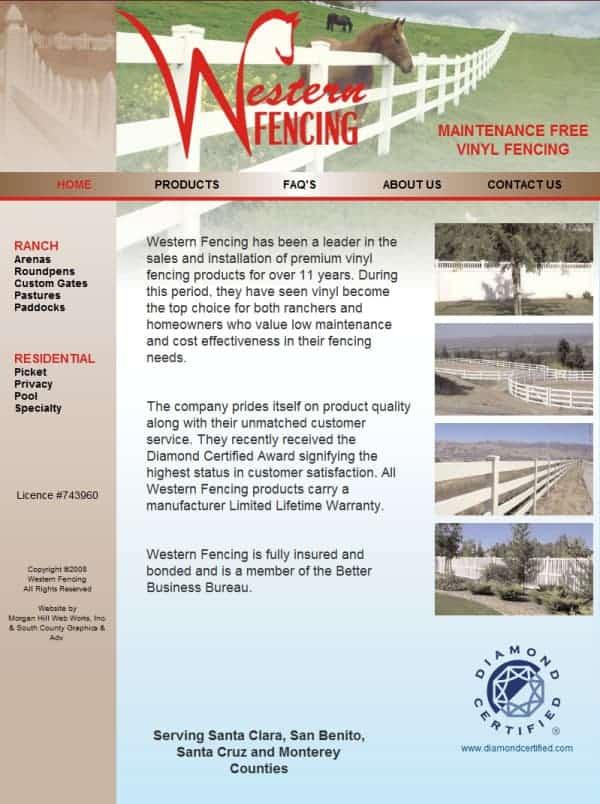 Western Fencing Website- San Martin, CA