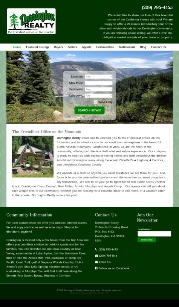Dorrington Realty Website - Dorrington, CA