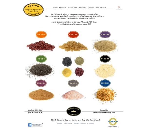 Edison Grainery Webiste - Benicia, CA