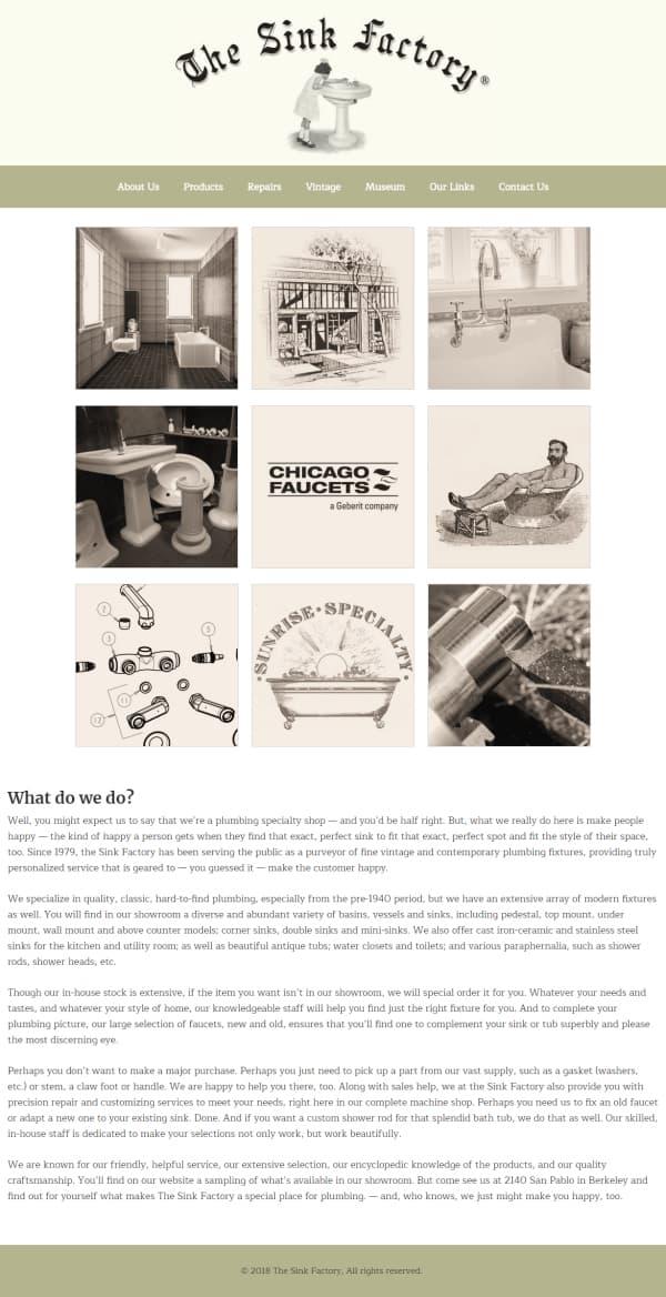 The Sink Factory Website - Berkeley, CA